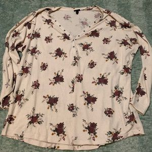 Torrid Floral Button Thermal Long Sleeve Tunic Top